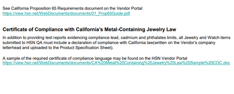 HSN Jewelry Vendor Certificate