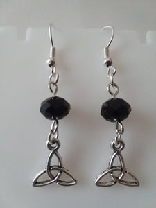 AVBeads Jewelry Charm Earrings Dangle Silver Hook Beaded Black Triquetra Mini