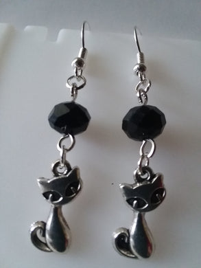 AVBeads Jewelry Charm Earrings Dangle Silver Hook Beaded Black Cat