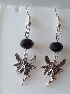 AVBeads Jewelry Charm Earrings Dangle Silver Hook Beaded Black Fairy Nymph