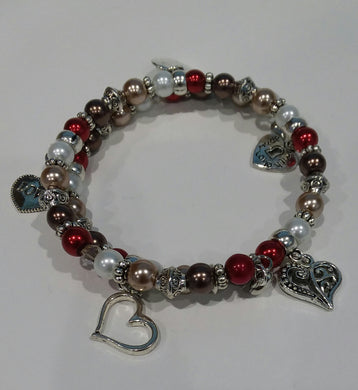 AVBeads Memory Wire Bracelet Beaded 2-Layer Wrap with Charms Valentine's