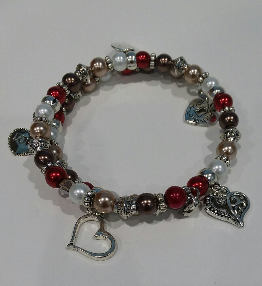 AVBeads Memory Wire Bracelet Beaded 2-Layer Wrap with Charms Valentine