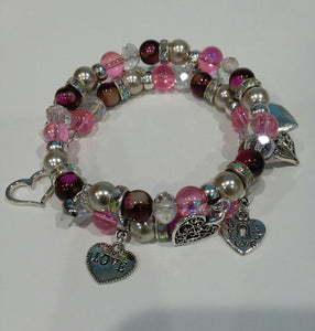 AVBeads Jewelry Memory Wire 2-Layer Heart Valentines Day Multi-Color 3 x 3 inches Zinc Alloy Metal Glass Charm Bracelet