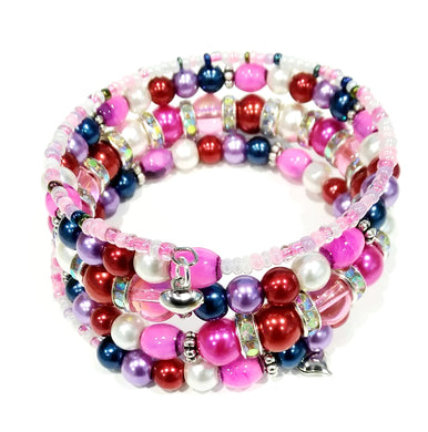 AVBeads Memory Wire Bracelet Beaded 5-Layer Wrap with Charms Valentine's 2