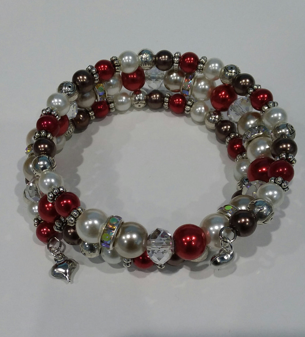 AVBeads Memory Wire Bracelet Beaded 3-Layer Wrap with Charms Valentine