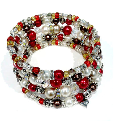 AVBeads Memory Wire Bracelet Beaded 5-Layer Wrap with Charms Valentine's 1
