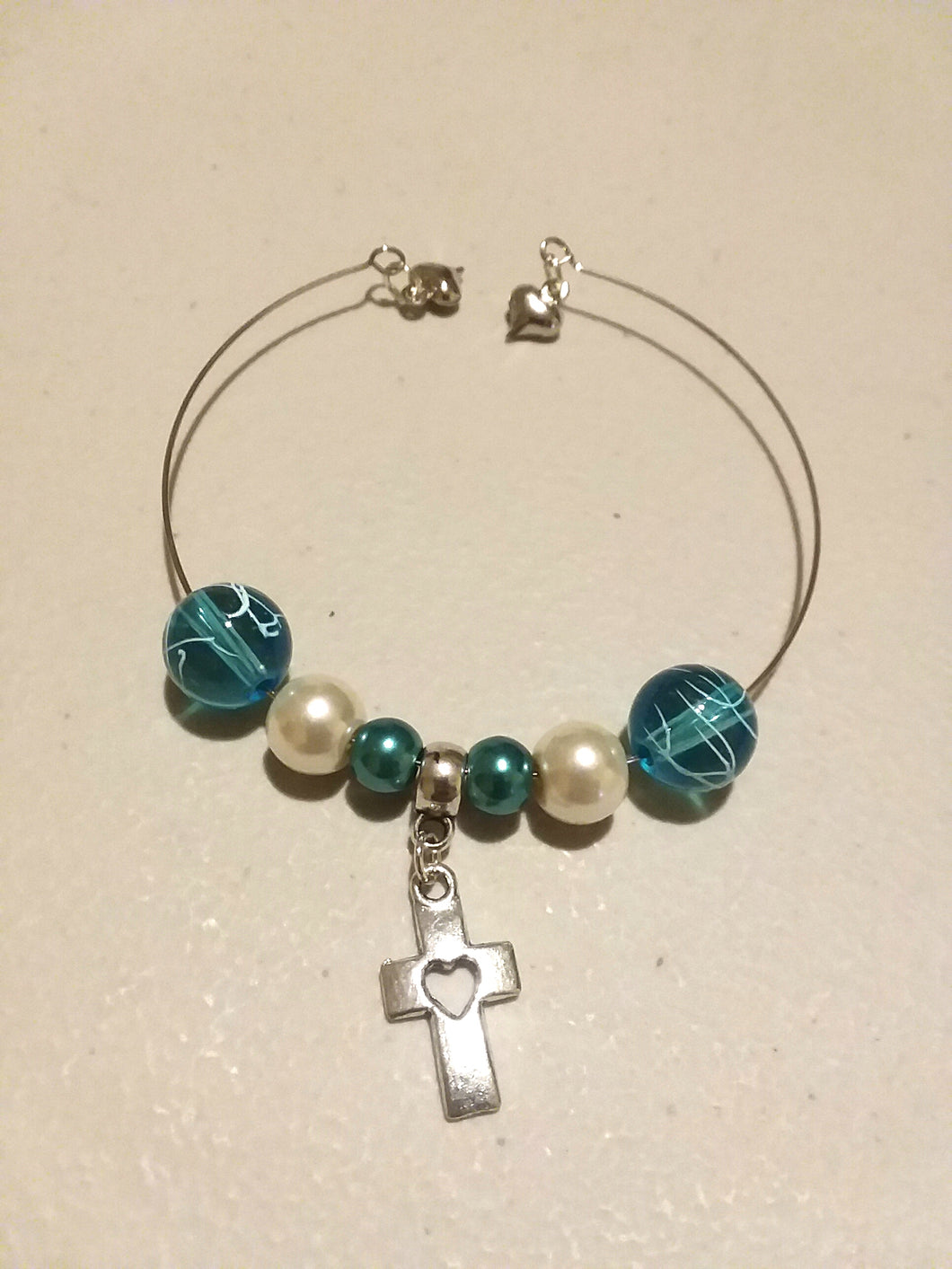 Charm Bracelet Single Layer with 3 Charms, 6 Beads, and a Cross Charm