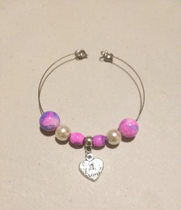 Charm Bracelet Single Layer 3 Charm 6 Bead Heart