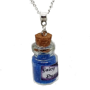 "AVBeads Jewelry Fairy Necklace with Glass Bottle Charm on 24"" Silver Plated Chain Metal"