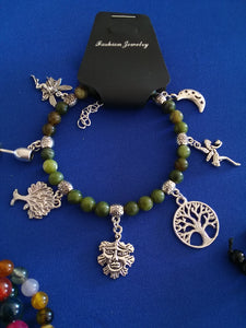 AVBeads Gemstone Beaded Charm Bracelet Wicca and Pagan Jewelry