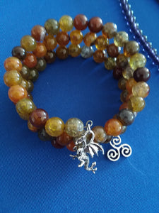 AVBeads Gemstone Beaded Charm Bracelet Wicca Pagan Jewelry 3Layer Wrap Bracelet Dragon