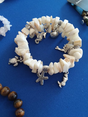 AVBeads Shell Beaded Charm Bracelet Beach Jewelry 2Layer Wrap