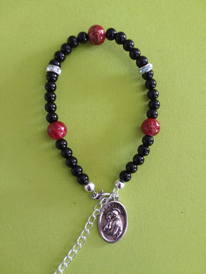 AVBeads Jewelry Religious Rosary Mary Connector Charm Bracelet Red Black Rhinestone Beads