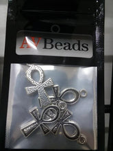 Load image into Gallery viewer, AVBeads Pagan Charms Ankh Charms Silver 25mm x 14mm Metal Charms 4pcs