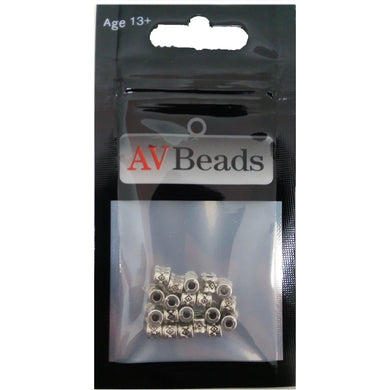 AVBeads Metal Beads Spacer Diamond Pattern 4mm Silver Loose 20pcs