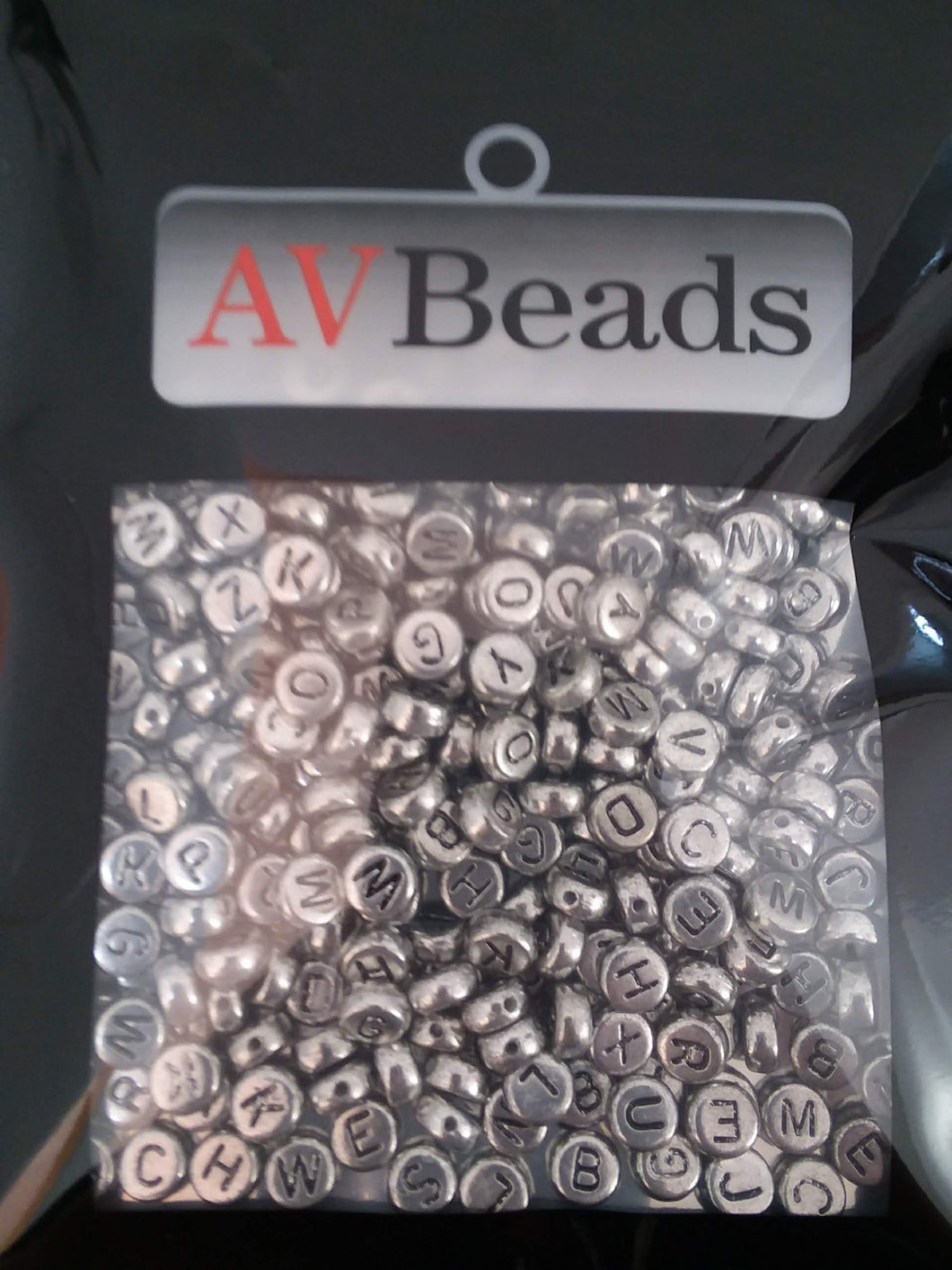 AVBeads Acrylic Beads Spacer Alphabet Letter Beads 7mm Silver 2oz approx. 400pcs