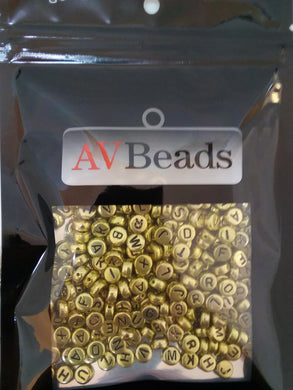 AVBeads Acrylic Beads Spacer Alphabet Letter Beads 7mm Gold 2oz approx. 400pcs