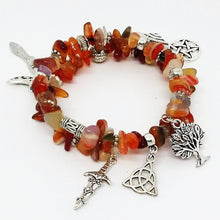 Load image into Gallery viewer, AVBeads Gemstone Beaded Charm Bracelet Wicca and Pagan Jewelry Bangle Wrap Agate