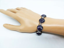 "Load image into Gallery viewer, Gemstone Bracelet 7 Stone Amethyst Link Bracelet 7 3/4"" length Brass Toggle Clasp Curvy"