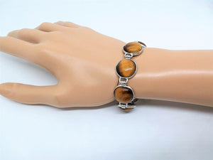 "Gemstone Bracelet 7 Stone Tigers Eye Link Bracelet 7 3/4"" length Brass Toggle Clasp Curvy"