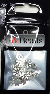 AVBeads Nature Charms Sunflower Charms Silver 19mm x 10mm Metal Charms 10pcs