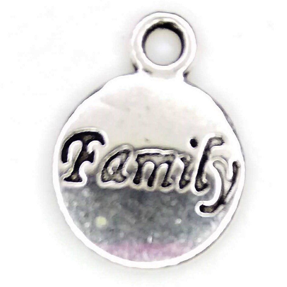 AVBeads Message Charms Family Charms Silver 15mm x 12mm Metal Charms 10pcs