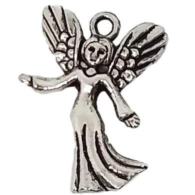 AVBeads Bulk Faith Religious Charms Angel Charms Silver 25mm x 20mm Metal Charms 100pcs