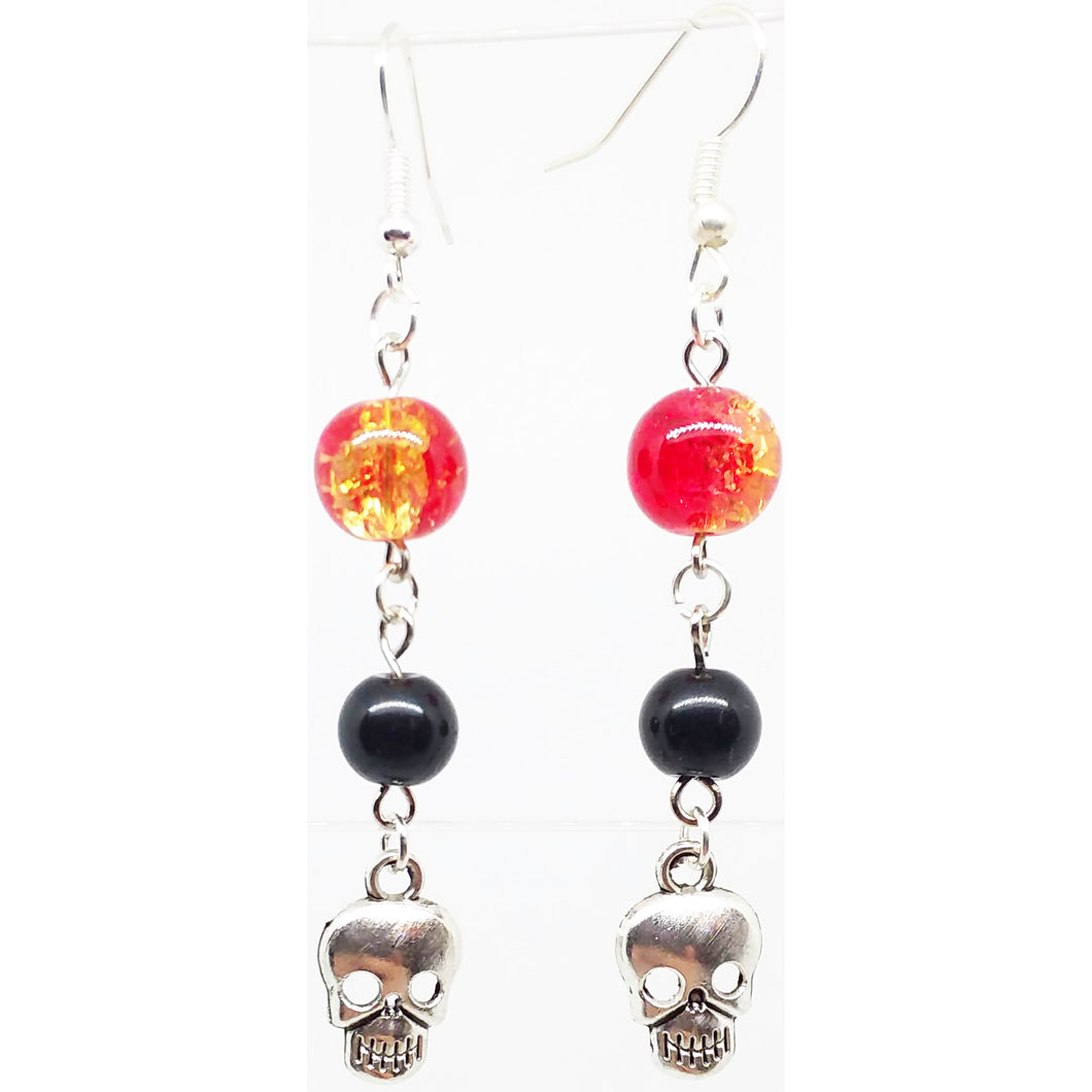 Bead Statement Earrings - Beaded Shiny Glass with Metal Charm Skull