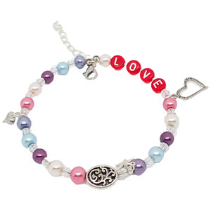 "Bead Statement Bracelets - Stackable Beaded Memory Wire Lobster Clasp Bangles Shiny Glass with ""Love"" + Heart Charms"