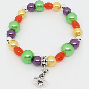 Bead Statement Bracelets - Stackable Beaded Stretch Bangles Shiny Glass with Charm Wizard Hat