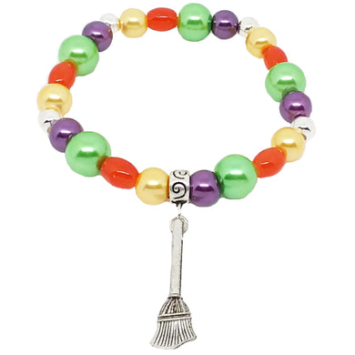 Bead Statement Bracelets - Stackable Beaded Stretch Bangles Shiny Glass with Charm Broom