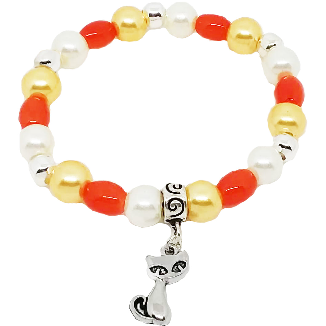 Bead Statement Bracelets - Stackable Beaded Stretch Bangles Shiny Glass with Charm Cat