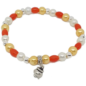Bead Statement Bracelets - Stackable Beaded Stretch Bangles Shiny Glass with Charm Cauldron