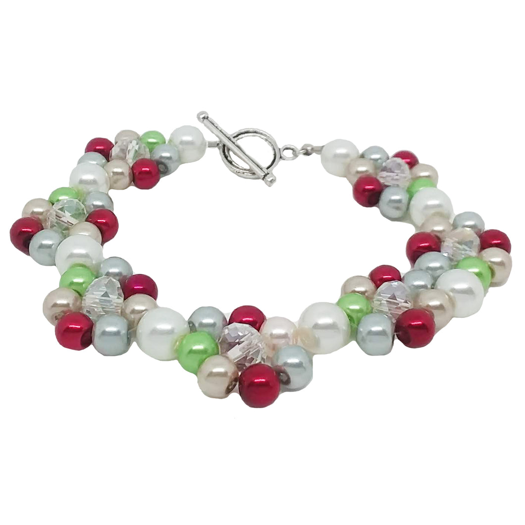 Handmade White Green Red Clear Glass Beaded Bracelet Holiday Jewelry with Metal Ring and Toggle Clasp