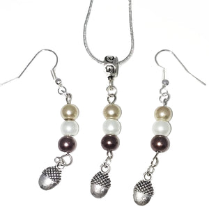 Handmade Glass Beaded Metal Charm Pendants with Silver Plated Earrings and Snake Chain Necklace Jewelry Set Beige Brown Ivory Spiral Bail Acorn