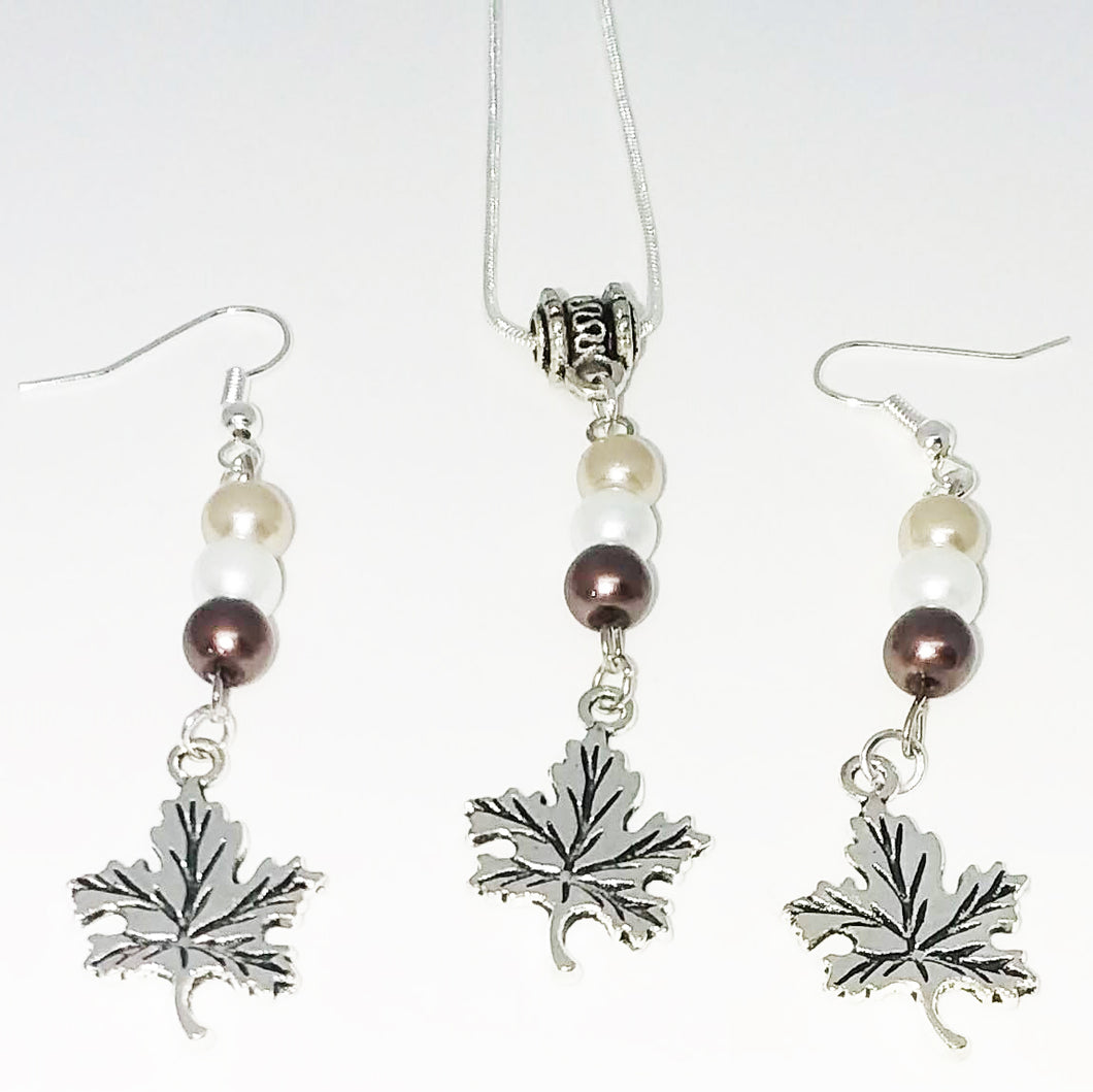 Handmade Glass Beaded Metal Charm Pendants with Silver Plated Earrings and Snake Chain Necklace Jewelry Set Beige Brown Ivory Wave Bail Maple Leaf Leaves