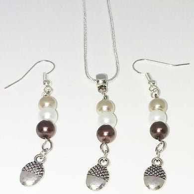 Handmade Glass Beaded Metal Charm Pendants with Silver Plated Earrings and Snake Chain Necklace Jewelry Set Beige Brown Ivory Smooth Bail Acorn