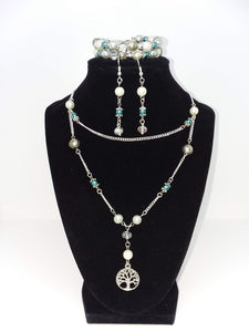 Handmade Glass Beaded Metal Charm Pendants with Silver Plated Earrings and Chain Necklace Jewelry Set Tree of Life