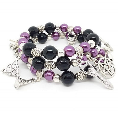 AVBeads Beaded Memory Wire Bracelet Wrap 3Layer Charm Bracelet Pagan Wiccan Witch Charms Handmade