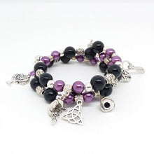 Load image into Gallery viewer, AVBeads Beaded Memory Wire Bracelet Wrap 3Layer Charm Bracelet Pagan Wiccan Witch Charms Handmade