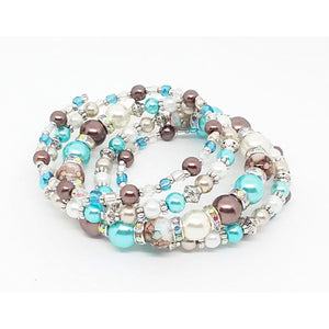 AVBeads Handmade Glass Bead Metal Charm Jewelry Set Earrings Necklace Memory Wire Bracelet 5Layer