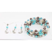 Load image into Gallery viewer, AVBeads Handmade Glass Bead Metal Charm Jewelry Set Earrings Necklace Memory Wire Bracelet 5Layer