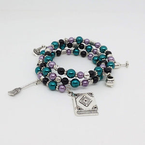 AVBeads Handmade Pagan Wiccan Glass Beaded Metal Charms Jewelry Memory Wire Bracelet Wrap 3Layer