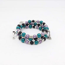 Load image into Gallery viewer, AVBeads Handmade Pagan Wiccan Glass Beaded Metal Charms Jewelry Memory Wire Bracelet Wrap 3Layer