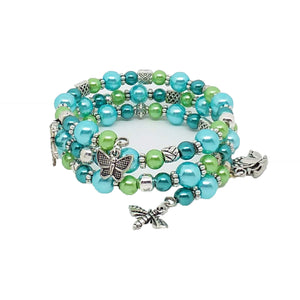 AVBeads Handmade Bug Insect Nature Glass Beaded Metal Charms Jewelry Memory Wire Bracelet Wrap 3Layer