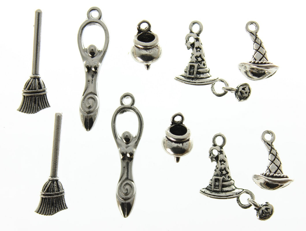 AVBeads Mixed Charms Wicca Charms Silver Metal 2127 10pcs