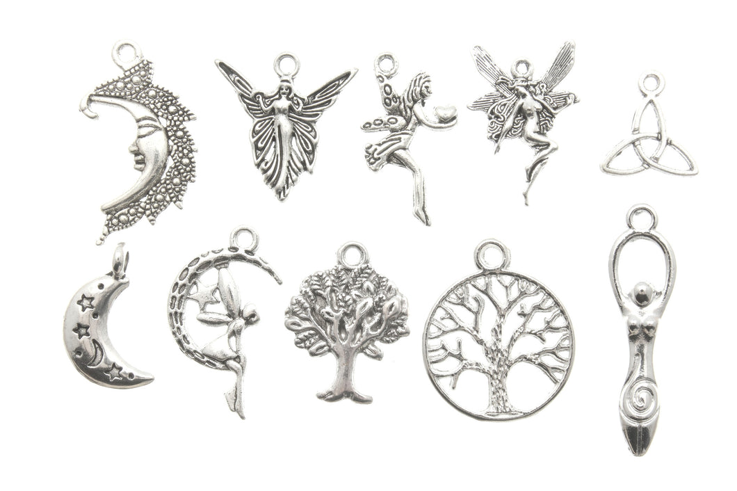 AVBeads Mixed Charms Fairy Charms Silver Metal 2169 10pcs