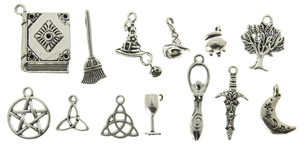 AVBeads Mixed Charms Wicca Charms Silver Metal 2447 100pcs