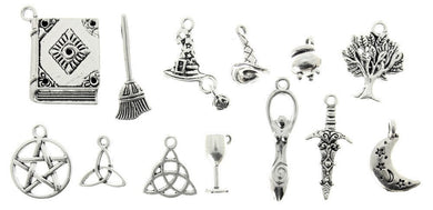 AVBeads Mixed Charms Wicca Charms Silver Metal 2447 13pcs