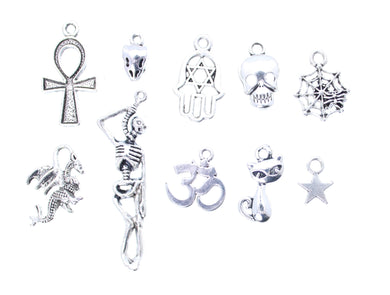 AVBeads Mixed Charms Wicca Charms Silver Metal 3184 10pcs